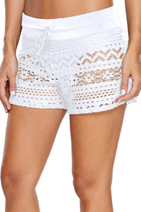 Blue Lace Shorts Attached Swim Bottom