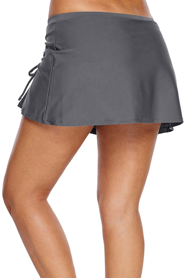 Gray Ruched Side Vent Detail Swim Skirt