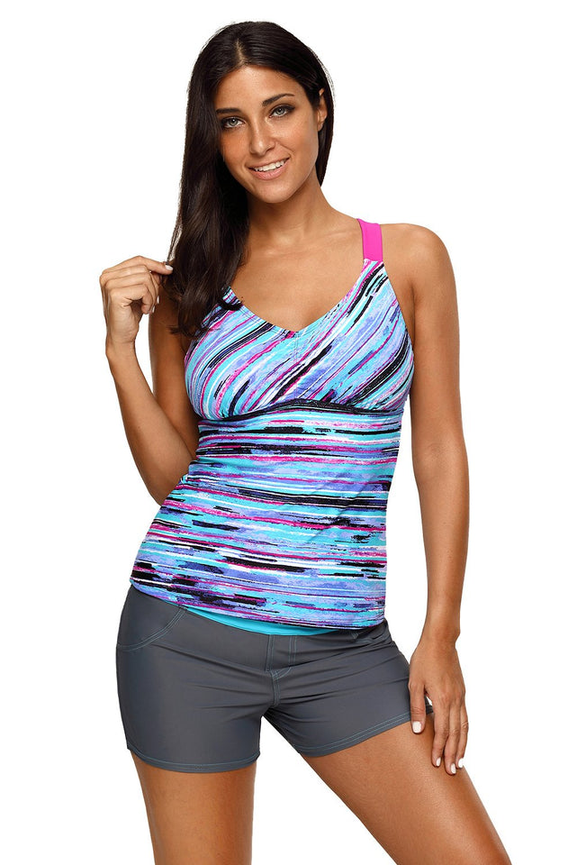Blue Fuzzy Stripes Strappy Back Tankini Top