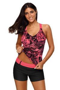 Red Floral Printed Blouson Tankini Top