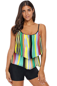 Multicolor Printed Spaghetti Strap Layered Tankini Top