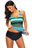 Blue Holiday Wave Tankini 2pcs Bathing Suit