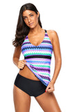 Purple Holiday Wave Tankini 2pcs Bathing Suit