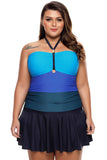Blue Color Gradient Sweet Halter Swimdress