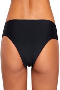 Black Strappy Side Bikini Swim Bottom
