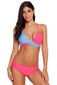 Rosy Blue Colorblock Bikini 2pcs Swimsuit
