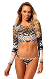 Totem African Print Long Sleeve Tanga Swimsuit