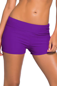 Purple Wide Waistband Swimsuit Bottom Shorts