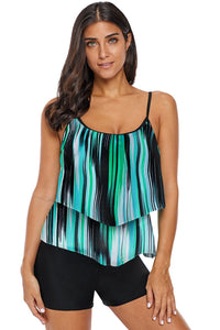 Green Printed Spaghetti Strap Layered Tankini Top