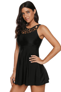 Black Strappy High Neck Swim Dress