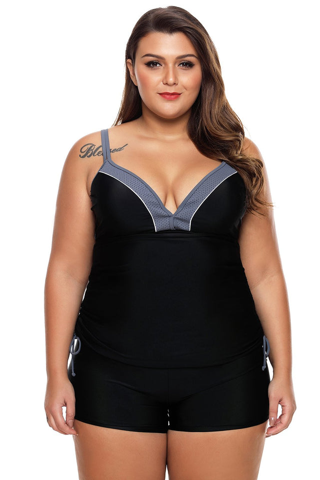 Black Bralette Tankini Top with Shorts Swimsuit