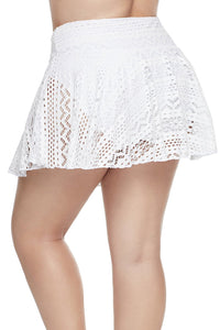 White Crochet Lace Skirted Bikini Bottom