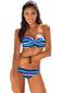 Sky Blue Boho Stripes Push up Bikini Set