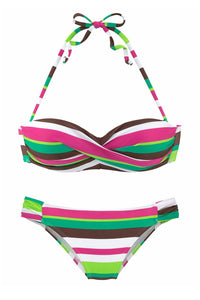 Green Boho Stripes Push up Bikini Set