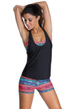Multicolor Sports Bra Tankini Swimsuit with Black Vest
