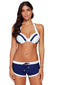 Concise White Navy Halter Bikini and Short Swimsuit