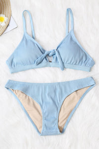 Sky Blue Tie Knot Two-piece Bikini Swimsuit