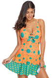 Orange Blue Polka Dot Print One-piece Swim Dress