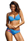 Sky Blue Solid Push up Patchwork Print Bikini