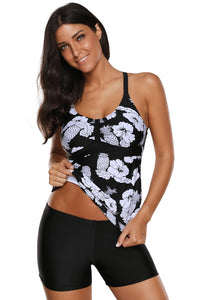Floral and Pineapple Print Tankini Swimwear