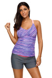 Purple Fuzzy Stripes Strappy Back Tankini Top