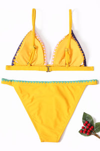 Yellow Padded Embroidered Trim Bikini