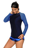 Navy Stripes Long Sleeve Rashguard Tankini Swimsuit
