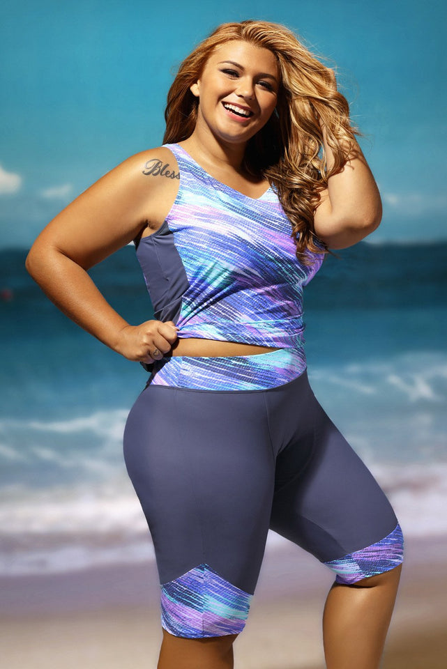 Sleeveless Top and Cropped Pants Two Piece Unitard Swimsuit