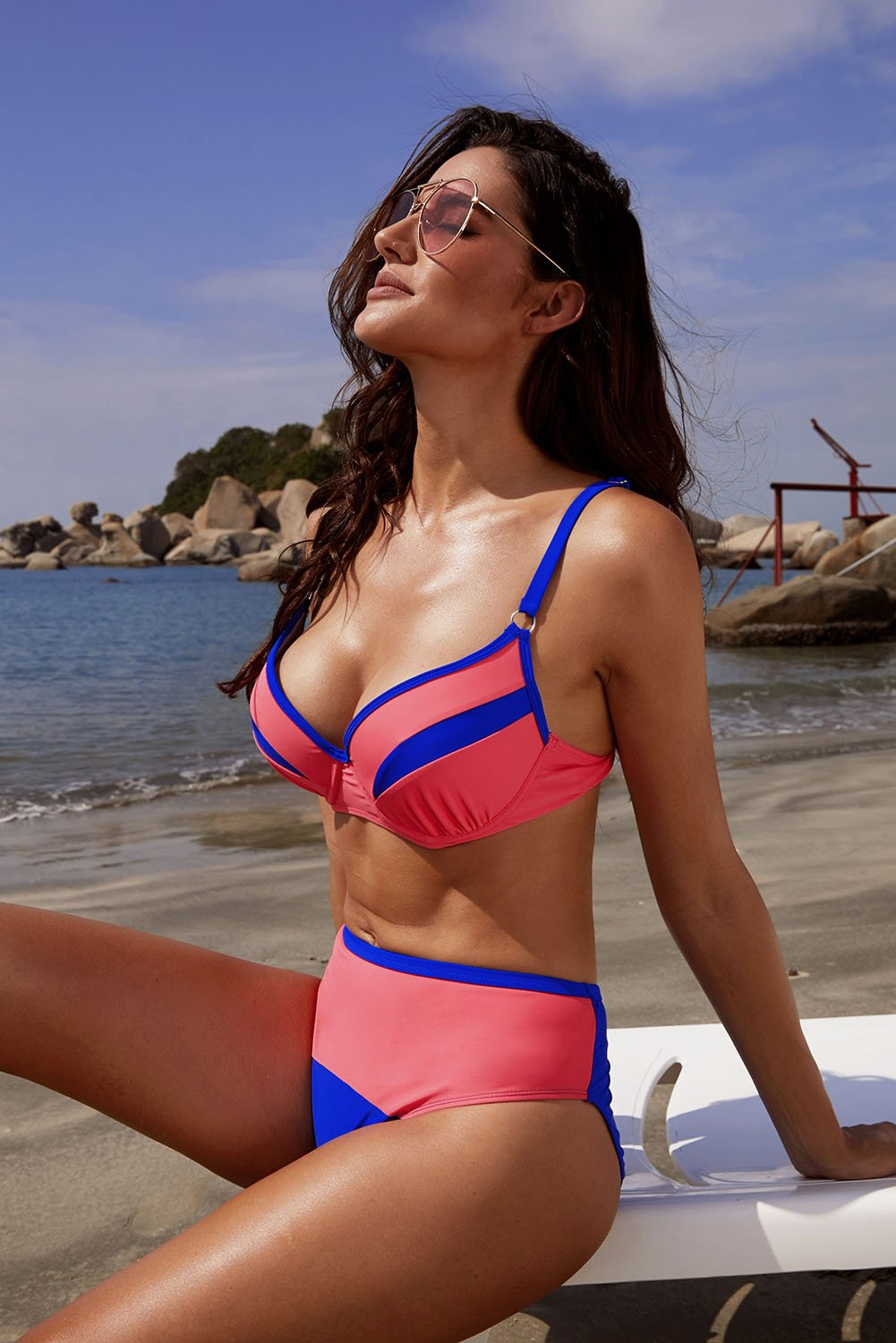 Red Colorblock Push up Bikini