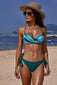 Green Printed Top Self-tie Panty Swimwear
