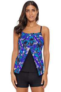 Blue Forest Chic Strappy Back Flyaway Tankini Top