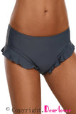 Gray Ruffle Swim Bottom for Women