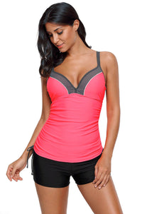 Red Ruched Ties Side Push Up Tankini Top