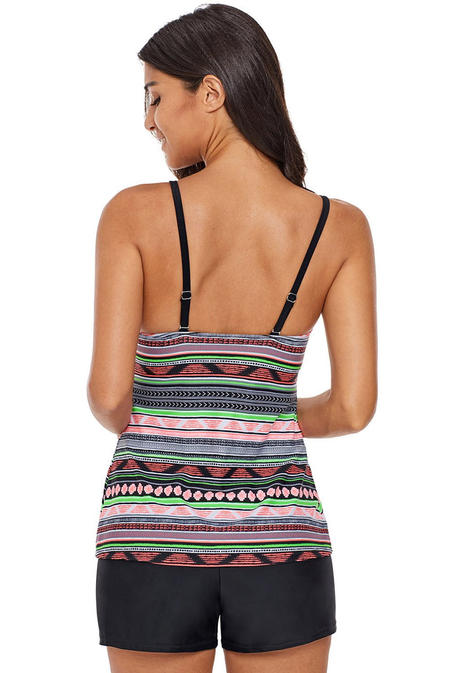 Stylish Geometry Print High Neck Tankini Top