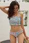 Sky Blue Cute Floral Patterned Smocked Bikini