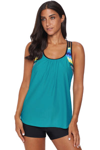 Green Blouson Striped Printed Strappy T-Back Push up Tankini Top