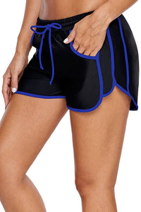 Sporty Piping Trim Black Swim Shorts