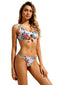 White Floral Print Tie Front Strappy Bikini Swimsuit
