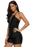 Black Beaded Crisscross Tankini and Short Swimsuit