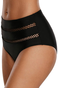 Black Fishnet Striped Detail Bikini Bottom