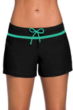 Black Green Women Swim Boardshort