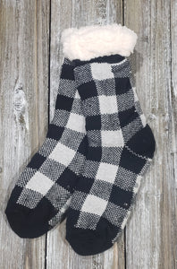 Black and White Plaid Cozy Slipper Sock
