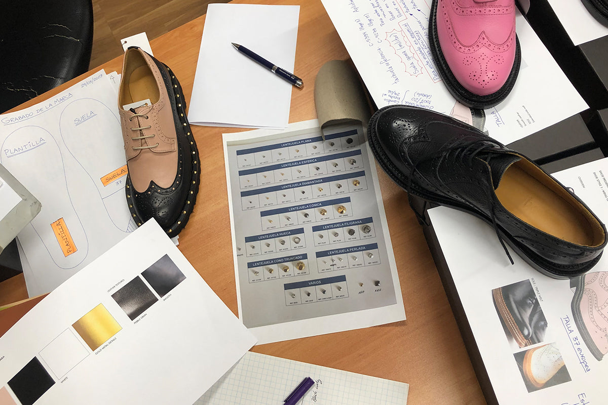 Hoyden shoes at the pre production stage at the office of our luxury partners in Barcelona, Spain