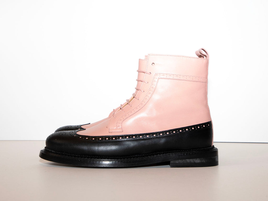 PHOTOSHOOT - TILDA - Pink and Black Long Wing Derby Boot