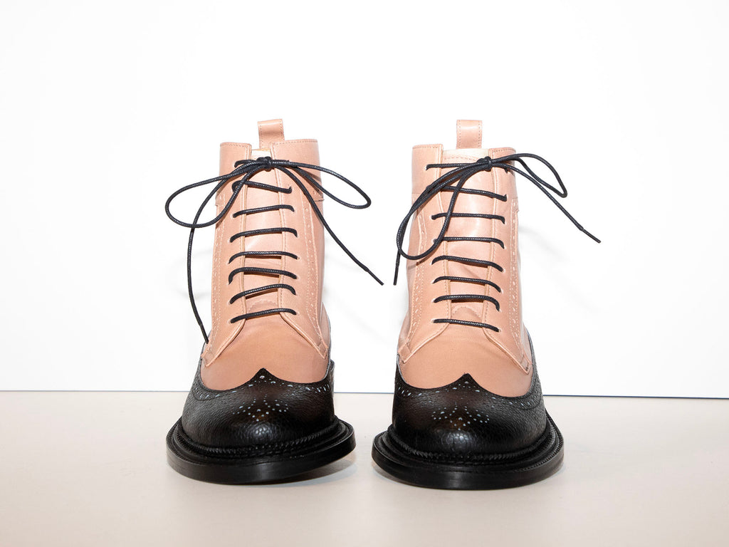 SAMPLE - TILDA - Pink and Black Long Wing Derby Boot