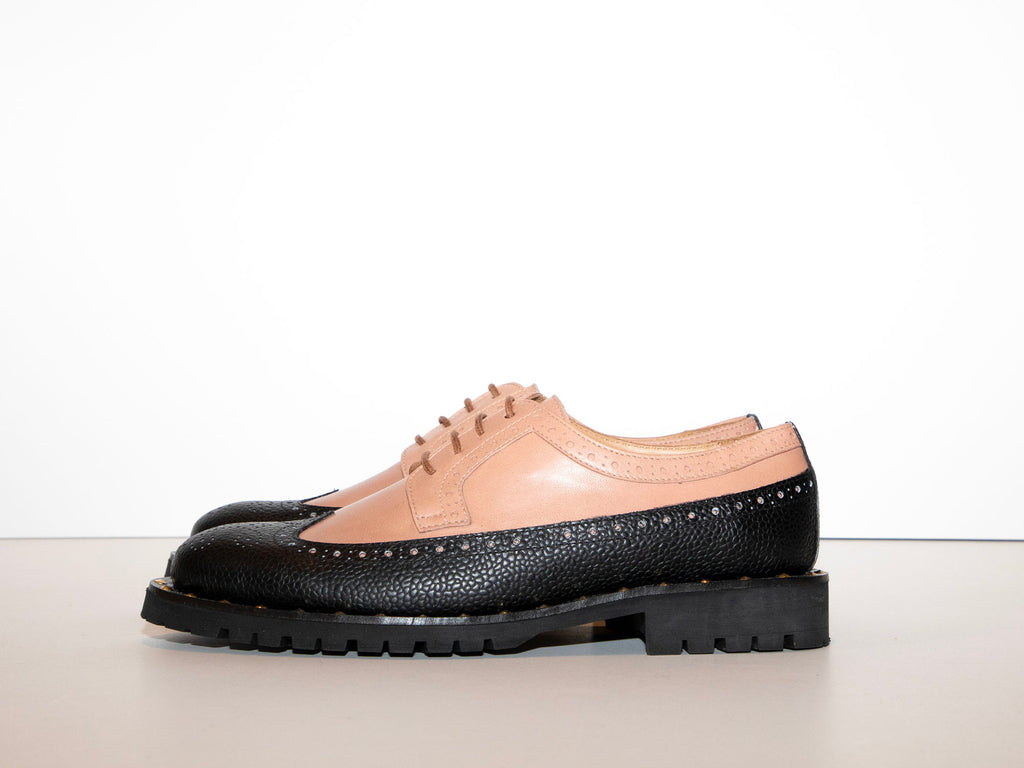 SAMPLE - FLAVIA - Pink and Black Long Wing Derby Shoe