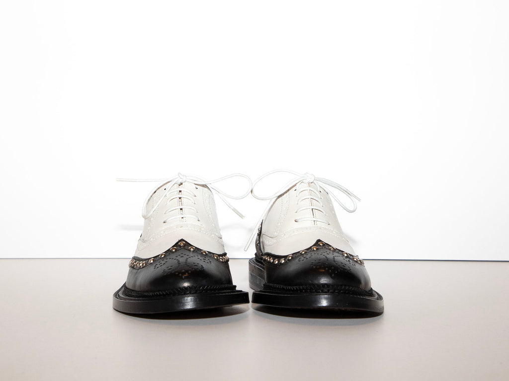 SAMPLE - JAMEELA - Black and White Spectator Oxford Shoe