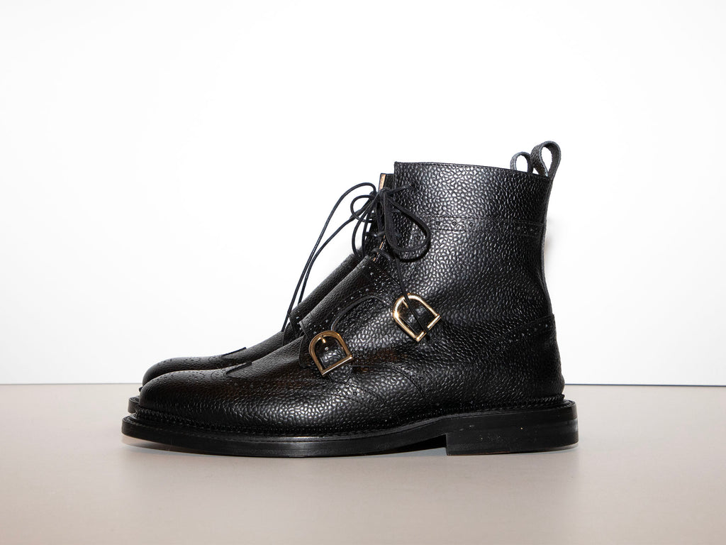 SAMPLE - BUFFY - Black Double Monk Strap Derby Boot