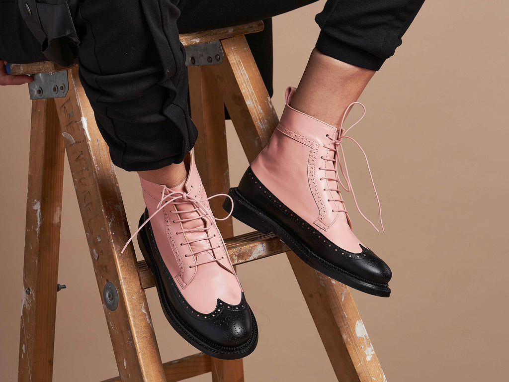TILDA - Pink and Black Long Wing Derby Boot