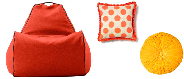 beanbag chair and cushions